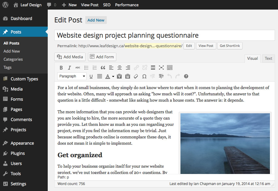 WordPress has a fantastic interface for posting content to your website
