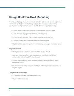 Design brief Screenshot