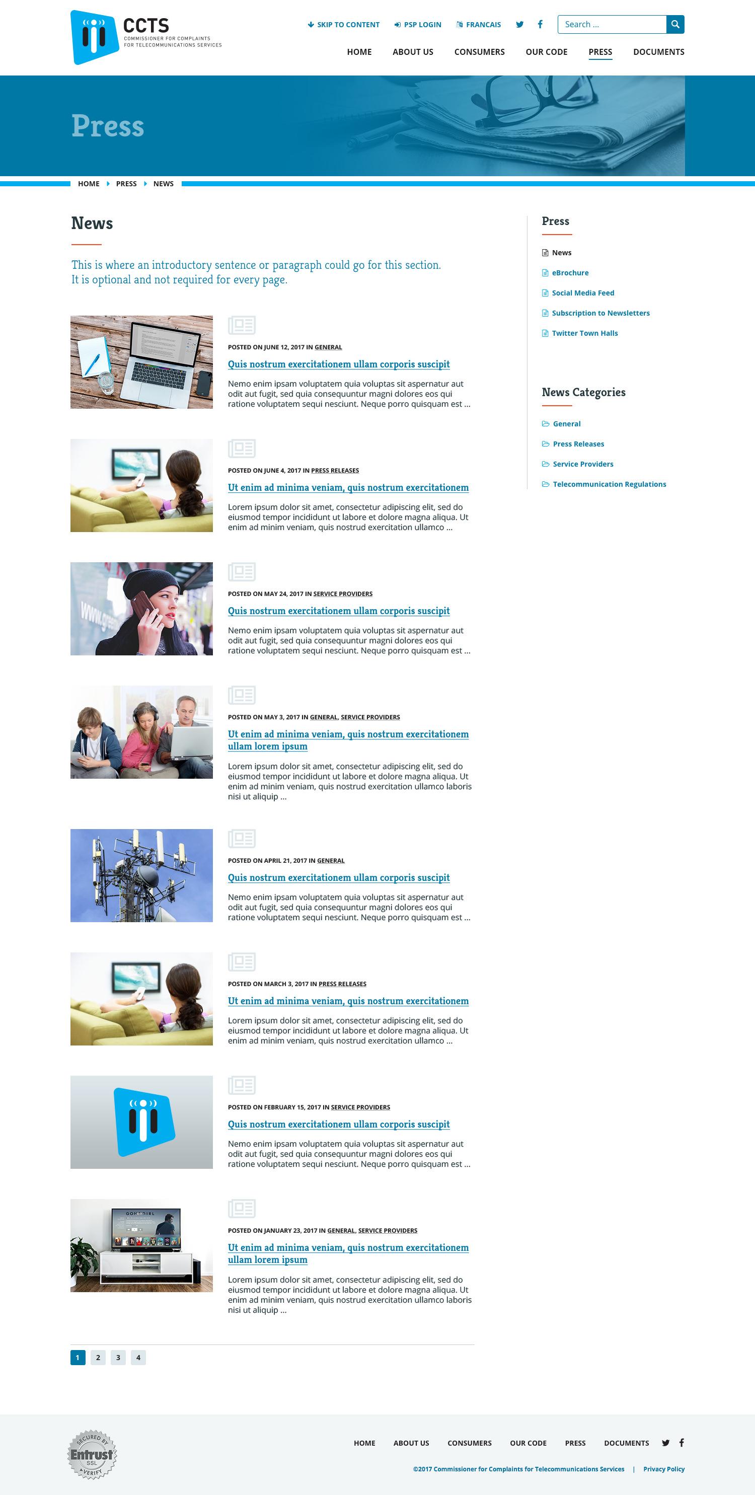 News Subpage Screenshot
