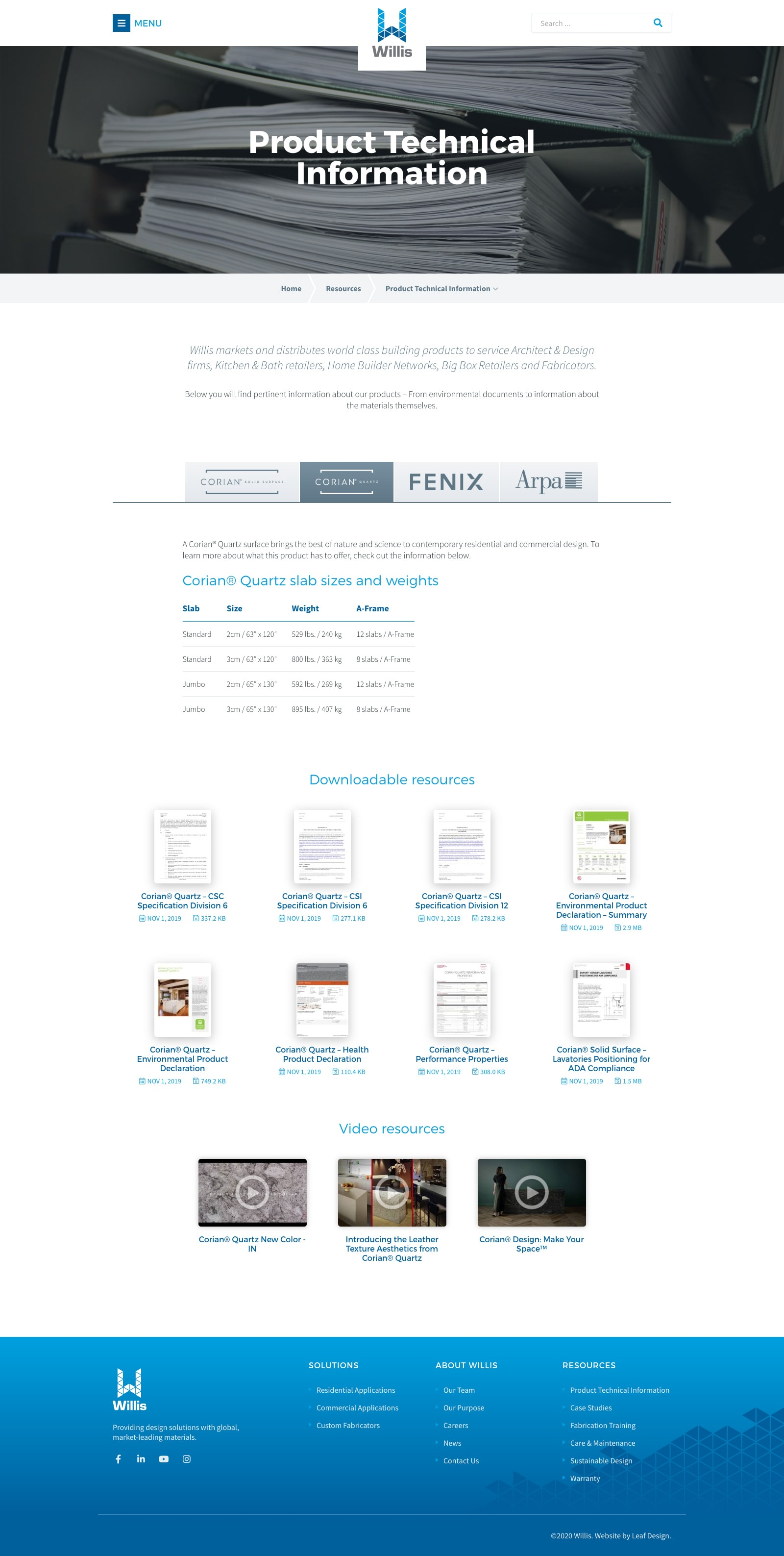 Product Technical Information Subpage Screenshot